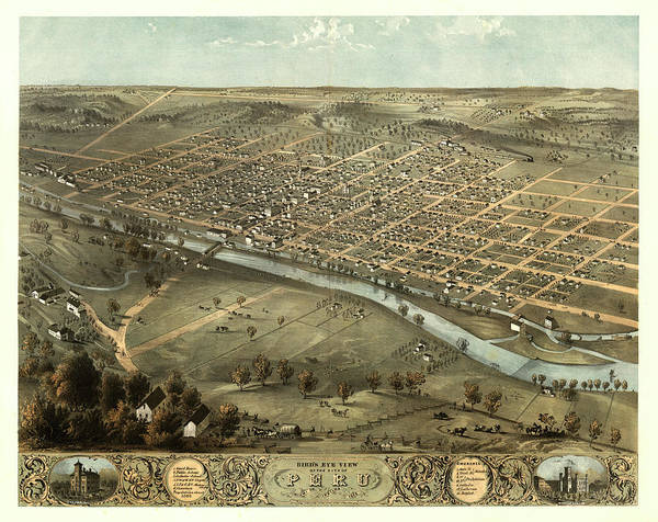 Wall Art - Painting - Bird's Eye View Of The City Of Peru, Miami Co., Indiana 1868 by Ruger