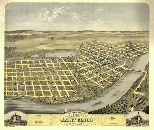 Wall Art - Painting - Bird's Eye View Of The City Of Saint Cloud, Stearns County, Minnesota 1869 by Ruger