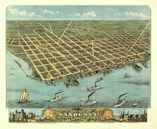 Wall Art - Painting - Bird's-eye-view Of The City Of Sandusky, Erie County, Ohio 1870 by Ruger