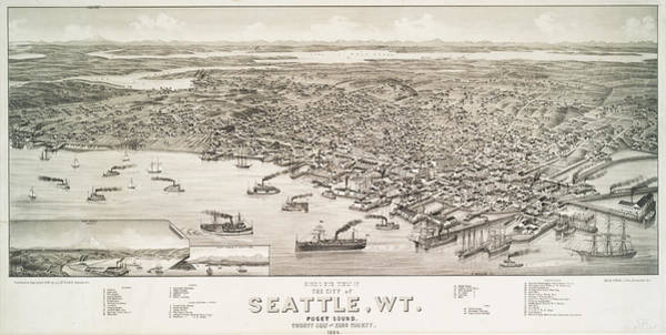 Emerald City Wall Art - Photograph - Birds Eye View Of The City Of Seattle Wt 1884 by Ricky Barnard