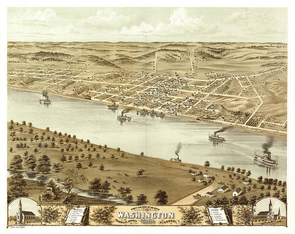 Wall Art - Painting - Bird's Eye View Of The City Of Washington, Franklin County, Missouri 1869 by Ruger