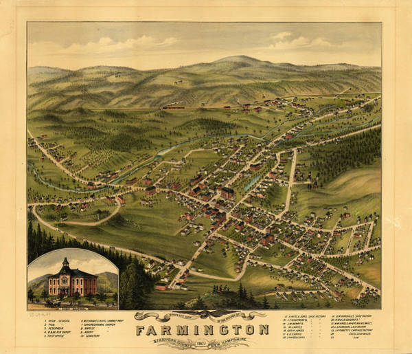 Wall Art - Painting - Bird's Eye View Of The Village Of Farmington, Stafford County, New Hampshire 1877 by Antique map