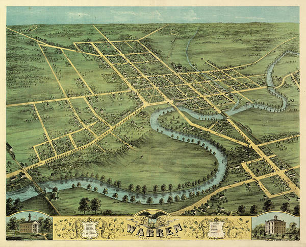 Wall Art - Painting - Bird's Eye View Of Warren, Trumbull County, Ohio 1870 by Ruger