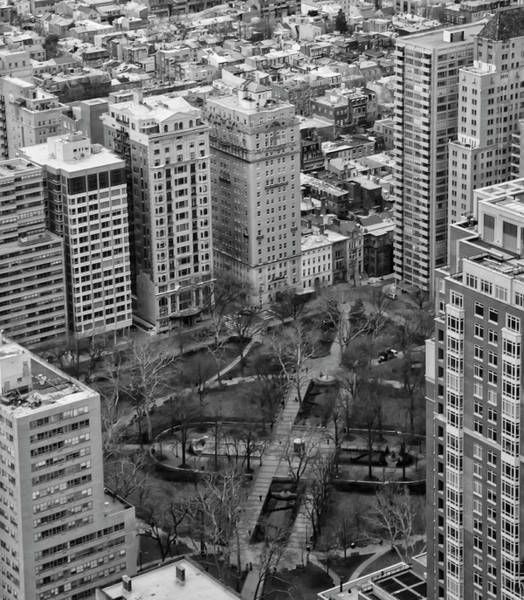 Rittenhouse Square Wall Art - Photograph - Birds Eye View - Rittenhouse Square In Black And White by Bill Cannon
