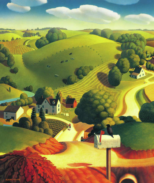Rural Painting - Birds Eye View by Robin Moline