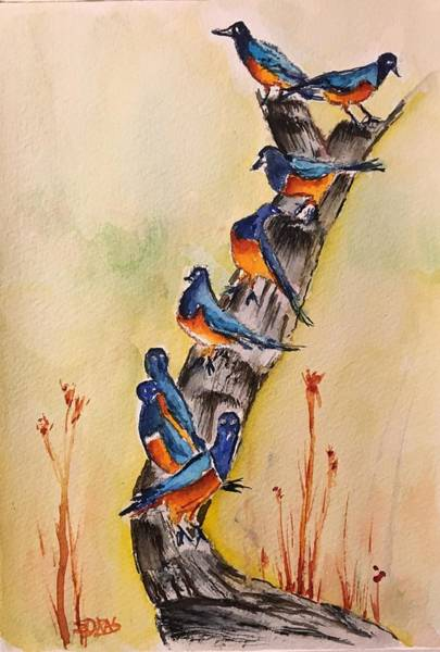 Wall Art - Painting - Birds In The Hood by Elaine Duras