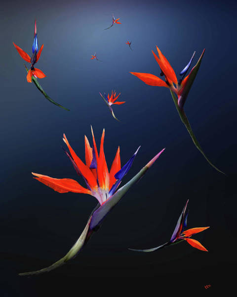 Art Print featuring the digital art Birds Of Paradise by Teresa Epps