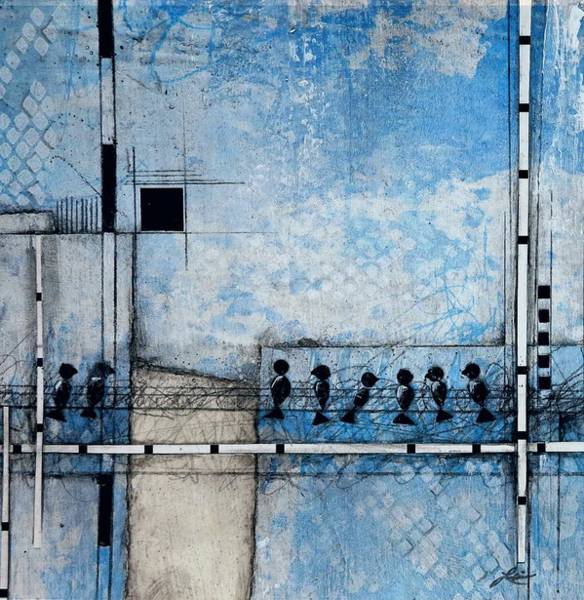 Wall Art - Mixed Media - Birds On A Wire  by Laura Lein-Svencner