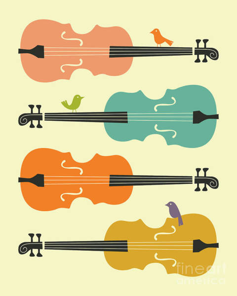 Cello Wall Art - Digital Art - Birds On Cello Strings 1.0 by Jazzberry Blue