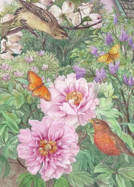 Painting - Birds Peony Garden Illustration by Judith Cheng
