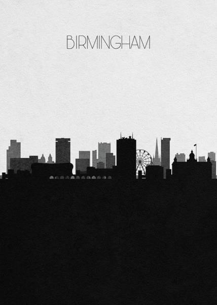 Souvenir Digital Art - Birmingham Cityscape Art by Inspirowl Design