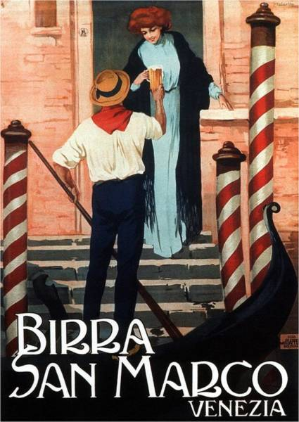 Hat Mixed Media - Birra San Marco, Venezia, Italy - Woman With Beer Glass - Retro Travel Poster - Vintage Poster by Studio Grafiikka
