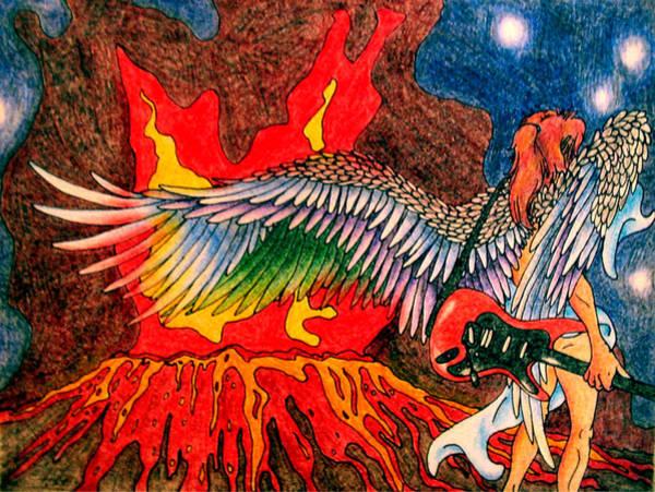 Lava Drawing - Birth Of Israfel by Anna Hanks