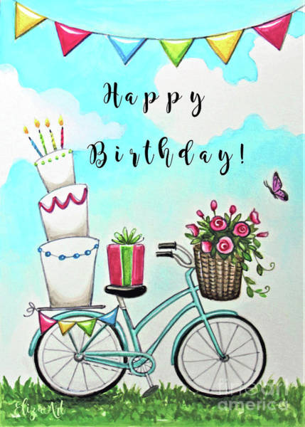 Painting - Birthday Bike, Flowers And Cake by Elizabeth Robinette Tyndall