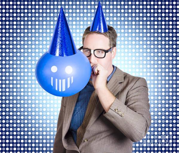 Birthday Businessman Blowing Up Smiling Balloon Art Print