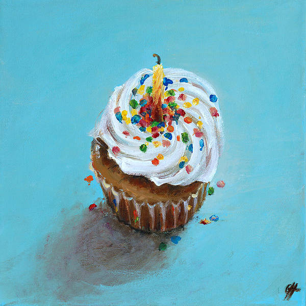 Cakes Painting - Birthday Cupcake by Cari Humphry