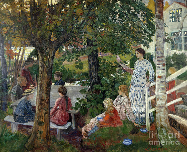 Nikolai Astrup Painting - Birthday In The Garden by O Vaering