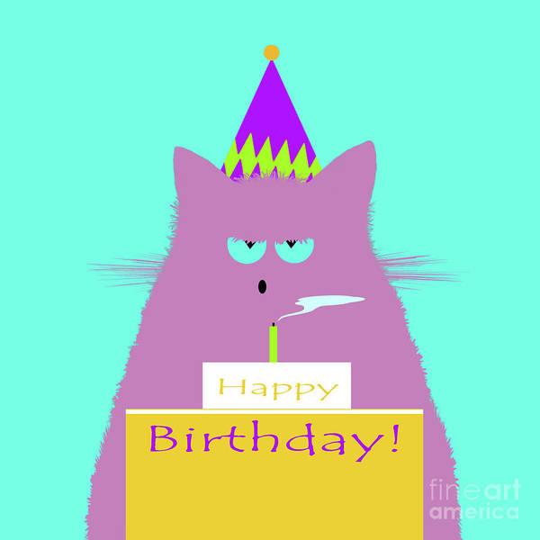 New Trend Digital Art - Birthday Lilac Cat by Zaira Dzhaubaeva