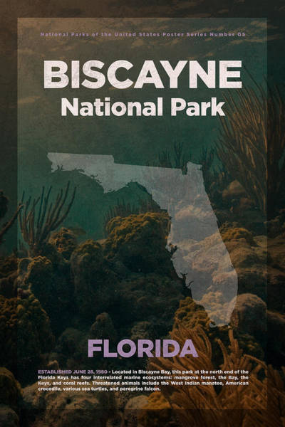 Biscayne Wall Art - Mixed Media - Biscayne National Park In Florida Travel Poster Series Of National Parks Number 05 by Design Turnpike