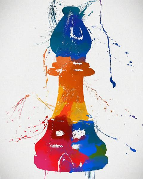 Painting - Bishop Chess Piece Paint Splatter by Dan Sproul