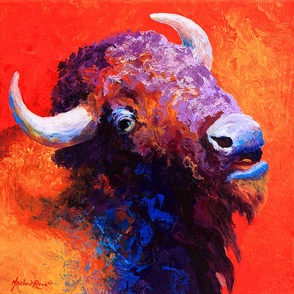 Prairie Painting - Bison Attitude by Marion Rose