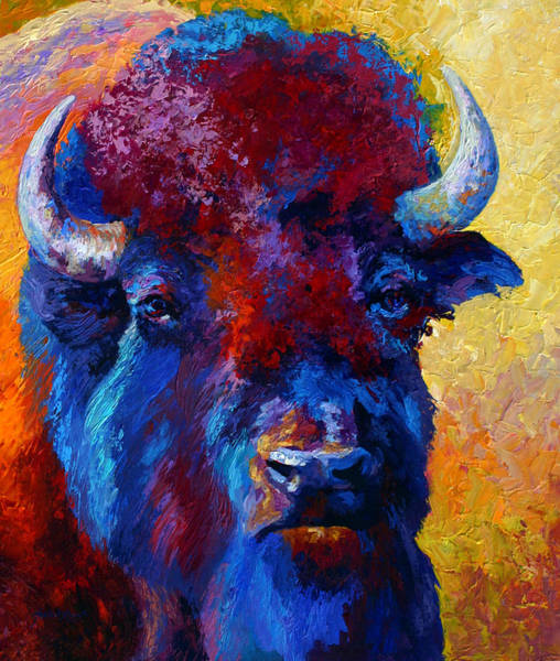 Prairie Painting - Bison Boss by Marion Rose