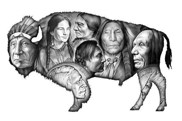 American Indian Wall Art - Digital Art - Bison Indian Montage by Greg Joens