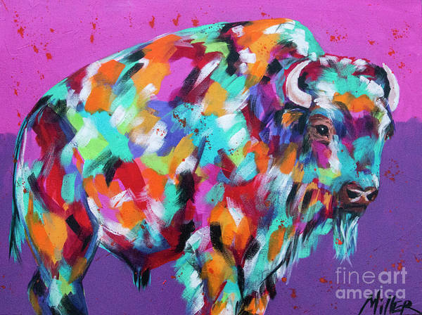 Colorado Wildlife Wall Art - Painting - Bison Majesty by Tracy Miller