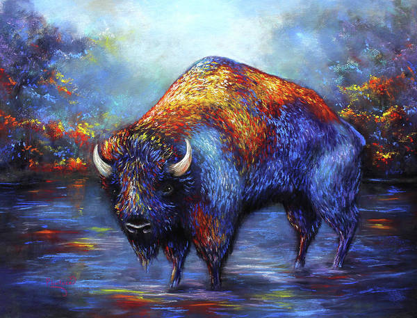 Wall Art - Pastel - Bison by Patricia Lintner