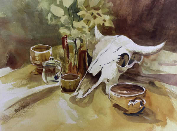 Bone Painting - Bison And Bowls by Kris Parins