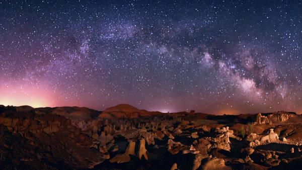 Digital Art - Bisti Badlands Night Sky - 2 by OLena Art Brand