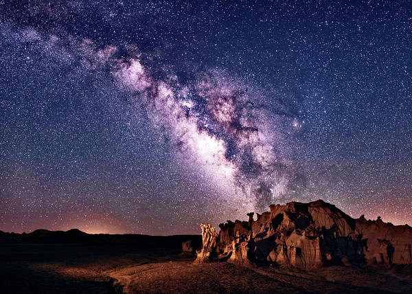 Digital Art - Bisti Badlands Night Sky by OLena Art - Lena Owens