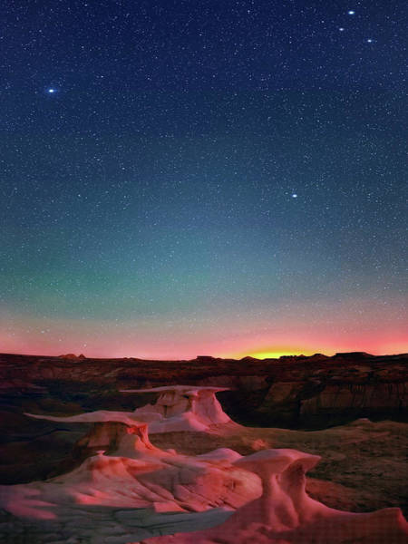 Digital Art - Bisti Badlands Hoodoos Under New Mexico Stary Night    by OLena Art - Lena Owens