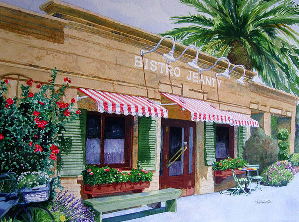 Bistros Painting - Bistro Jeanty Napa Valley  by Gail Chandler