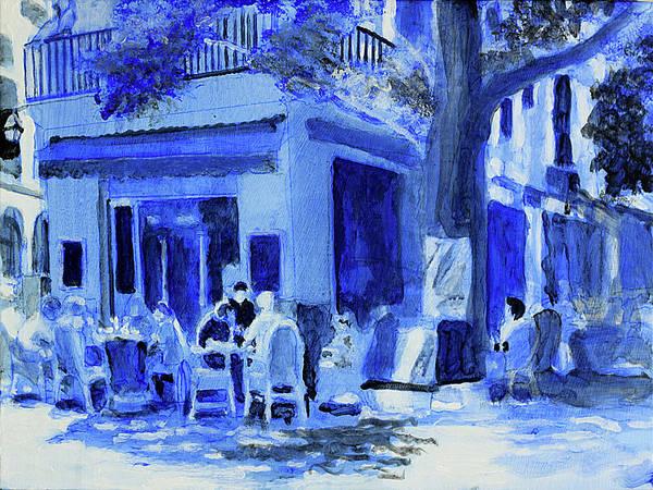 Dining Al Fresco Painting - Bistro Mallorca Up by David Zimmerman