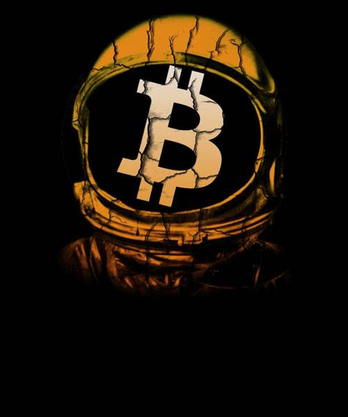 Cryptocurrency Drawing - Bitcoin Astronaut Helmet To The Moon Hodl by Cameron Fulton