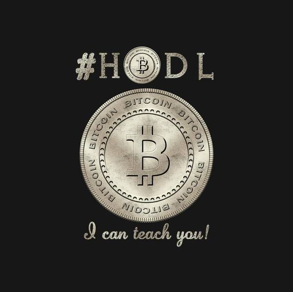 Bitcoin Symbol Hodl Quote Typography Art Print