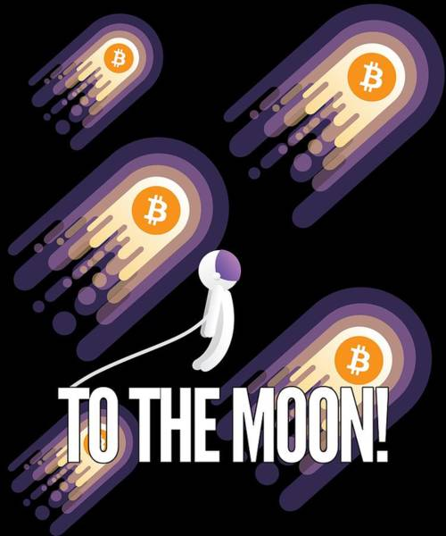 Cryptocurrency Drawing - Bitcoin To The Moon Astronaut Cryptocurrency Humor Funny Space Crypto by Cameron Fulton