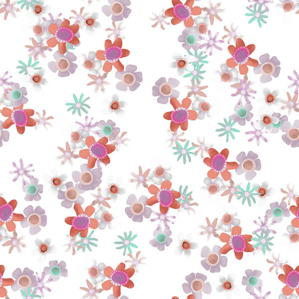 Digital Art - Bits Of Flowers Pattern by April Burton