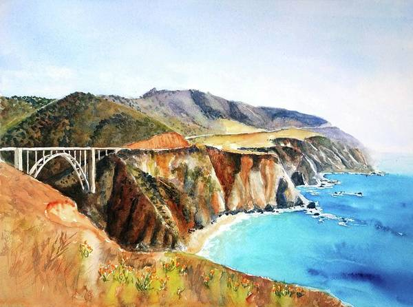 California Landscape Painting - Bixby Bridge Big Sur Coast California by Carlin Blahnik CarlinArtWatercolor