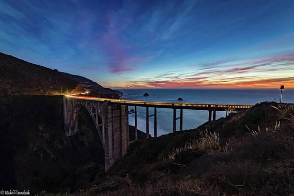 Photograph - Bixby Bridge Sunset by Mike Ronnebeck