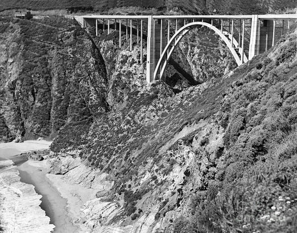 Photograph - Bixby Creek Bridge Big Sur Photo  Circa 1939 by California Views Archives Mr Pat Hathaway Archives