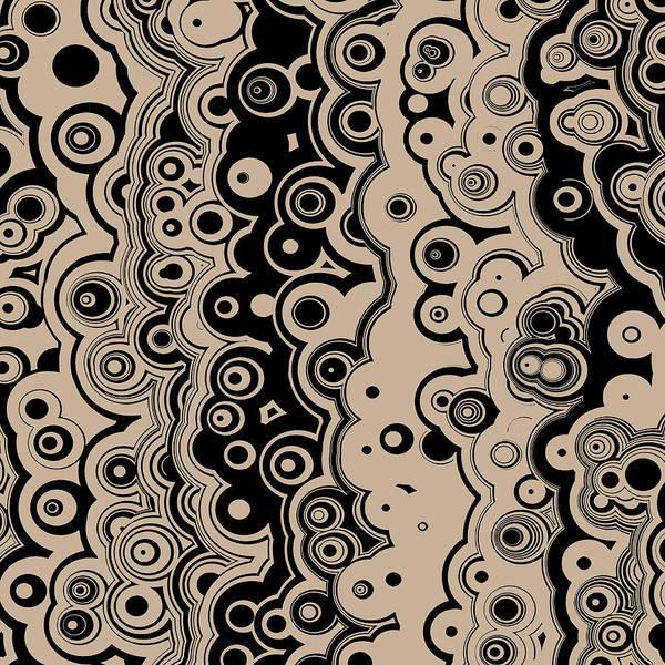 Digital Art - Black And Beige Targets And Lines by Joy McKenzie