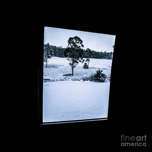 View Through Window Photograph - Black And Blue Snow Landscape by Jorgo Photography - Wall Art Gallery
