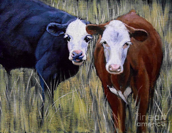 Painting - Black And Brown Cow by Christopher Shellhammer