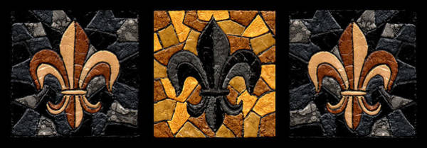 Wall Art - Painting - Black And Gold Fleur De Lis Triptych by Elaine Hodges