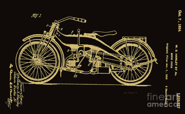 Wall Art - Photograph - Black And Gold Harley Motorcycle Patent 1924 by John Stephens