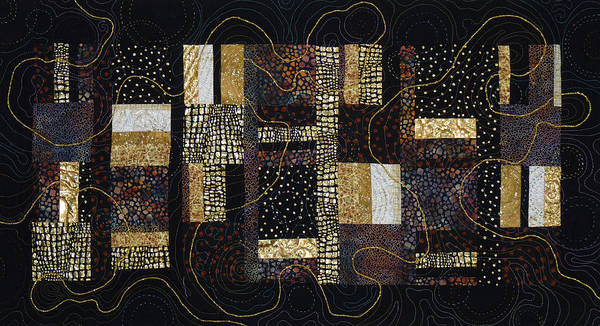 Tapestry - Textile - Black And Gold by Pat Dolan