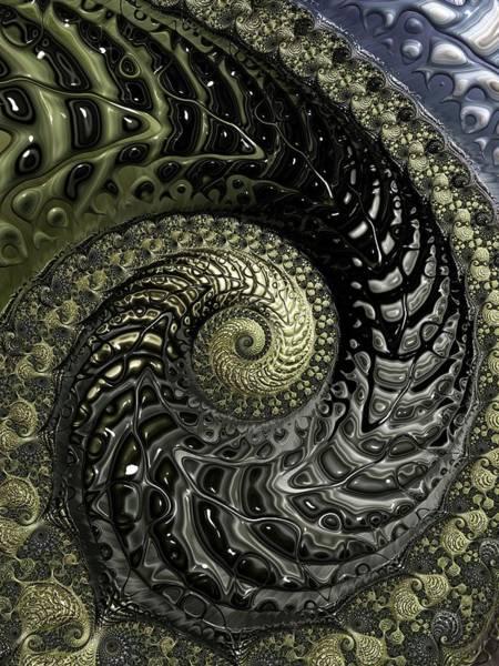 Wall Art - Digital Art - Black And Gold Spiral by Amanda Moore