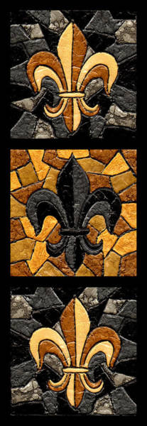 Stained Glass Wall Art - Painting - Black And Gold Triple Fleur De Lis by Elaine Hodges
